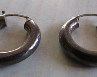 Sterling Silver Hoop Earrings with Patina