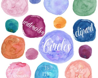 Watercolor Circles Clipart - Circle Watercolour - PNG Watercolor Round Shapes / Textures for Logos / Weddings / Art Prints Instant Download