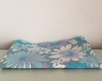 1960s Blue Floral Bed Sheet Retro Fabric 111cm x 67cm
