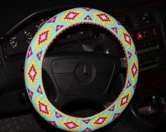 mint with Fuchsia and yellow Steering wheel cover - Tribal wheel cover - Aztec Wheel Cover -Girls  cover -Car Accessories - Wheel Cover