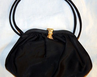 Beautiful Vintage Black Satin Evening Bag - With Matching Coin Purse, 1940s?