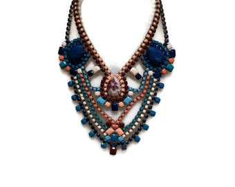 FOREVER SUMMER marsala, peach, scuba blue and cream hand painted rhinestone statement bib necklace