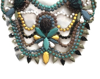 YOSAMADI hand painted rhinestone super statement necklace