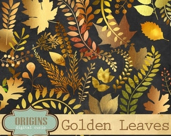 Autumn Leaves Clipart - Gold Leaf - Autumn Clipart Gold Foil Fall Clip Art Set PNG Instant Download for Commercial Use