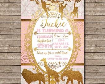 Golden Safari Printable Birthday Party Invitation - African animals with elephant, giraffe, lion - Customized Digital File