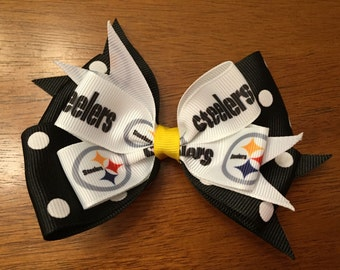 Pittsburgh Steelers themed hair bow