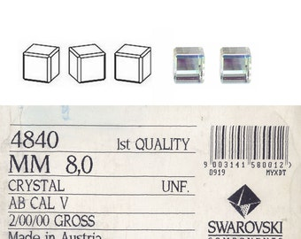 Swarovski 4840 Vintage cube stones 8mm.  Price is for one stone.