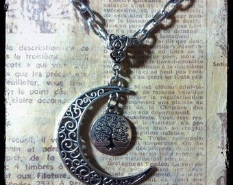 Necklace with moon and tree of life