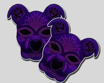 Purple Pit Bull Sugar Skull Stickers for Dia de los Muertos -2 pack of stickers!