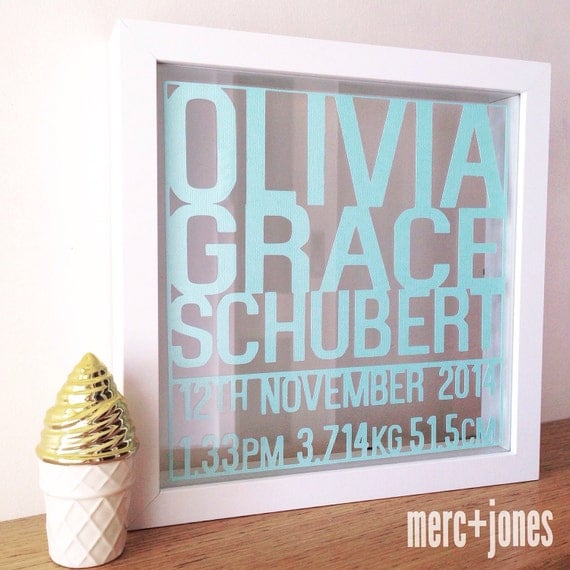 Paper Cut Birth Announcement Name Frames