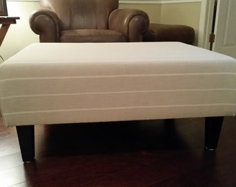 Upholstered Ottoman Coffee Table - Tan With White Stripes
