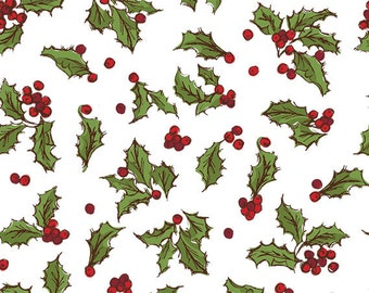 "Holly Berry on White Christmas Tissue Paper #893 / Gift Paper .... 10 Large Sheets .... 20"" x 30"" ..."