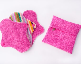 Pink and Stripy Pads Set with a Wetbag