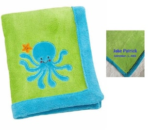 Ocean Dreams Applique Octopus Blanket, Baby Blanket -  Personalized Monogrammed