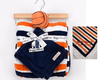 Rugged Bear Sports Blanket with BASKETBALL Snuggle Lovey Blanky Crib toy - Personalized