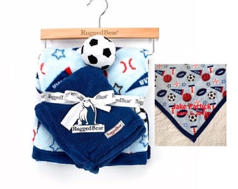 Rugged Bear Sports Blanket with SOCCER Snuggle Lovey Blanky Crib toy - Personalized