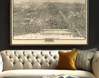 """Map of Chicago 1916, Old Chicago map in 4 sizes up to 54x36"""" Large panoramic map of Chicago, IL also in blue - Limited Edition of 100"""