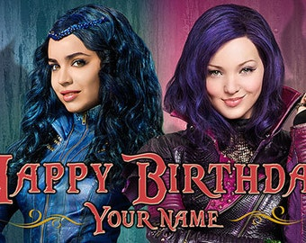 Disney Descendants - Evie & Mal - Happy Birthday Banner - custom