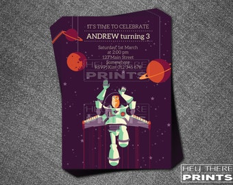 Toy Story Buzz Lightyear Invitations - Space Ranger - Woody