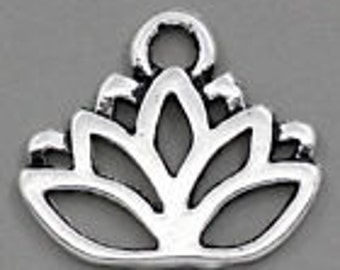 Silver lotus flower charm 10 charms