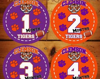 CLEMSON Baby Monthly Milestone Sticker Set......w/ Just Born Set (Optional)
