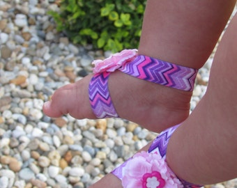 Flower baby barefoot sandals in bright shades of purple and pink, Newborn sandals, Baby clothing, Baby accesories