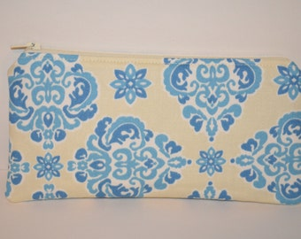 Blue and Cream Damask Pencil Pouch