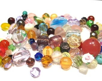 Glass Beads - 80 Grams - Assorted sizes and Shapes