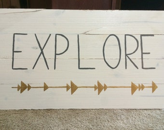 Explore Hand Painted Wood Sign