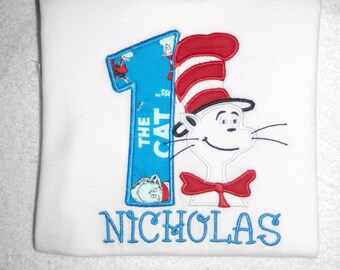 Cat in The Hat Birthday Outfit, Birthday Boy Outfit, Dr. Suess Birthday Outfit, Personalized First Birthday Outfi