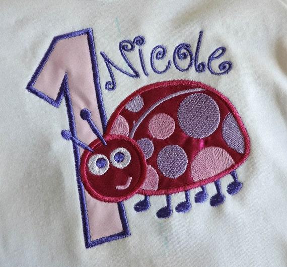 First Birthday Ladybug Embroidery Design LadyBird Applique