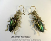 "Earrings ""Beetles""- intricate brass jewelry wire-wrapped earrings with natural wings of a beetle,malachite,Ethiopian opal, rainbow hematite."