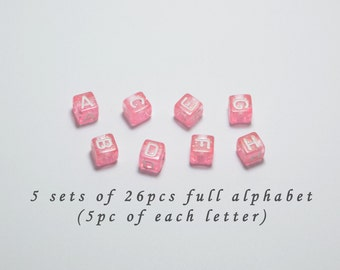 5 Sets of 26pcs Full Alphabet, Total 130pcs of A-Z Plastic Letter Beads in Pink, 6mm, Words, Names, Initials #SD-S7732