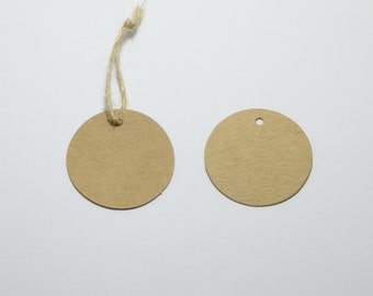 100pcs Circle Hang Tags, Kraft Card, Blank Merchandise Tags, Price Tags, Includes Free 32ft Jute Strings in a Bobbin #SD-S7761