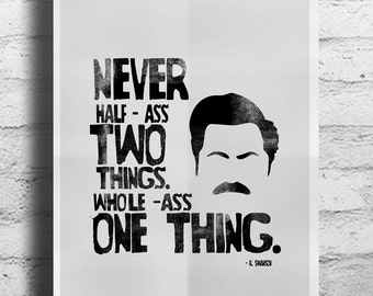 """Parks and Recreation inspired Ron Swanson Poster - A3 (11x17"""") Typographic Ron Swanson Print"""