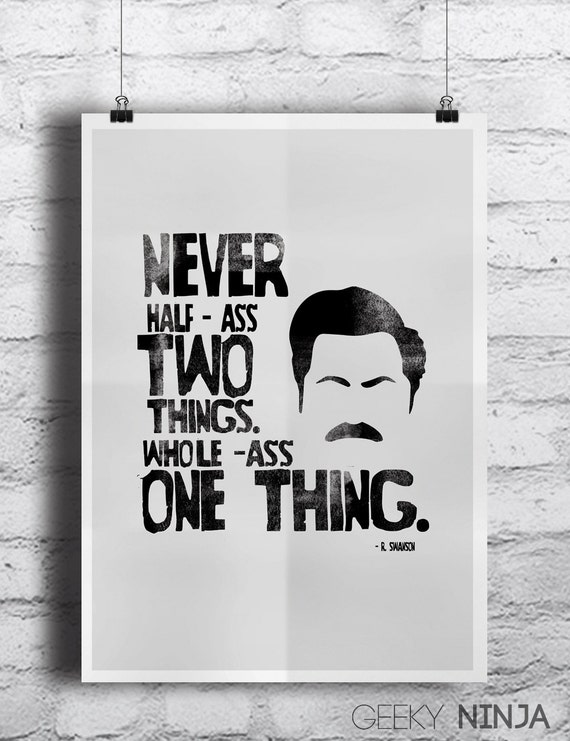 Parks and Recreation inspired Ron Swanson Poster - Typographic Ron Swanson Print