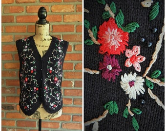 80's Embroidered Vest, Hand Sewn Colorful Flowers Black Waistcoat, Peasant Buttoned Country Farm Vest, Deadstock Boho Floral Spring Vest