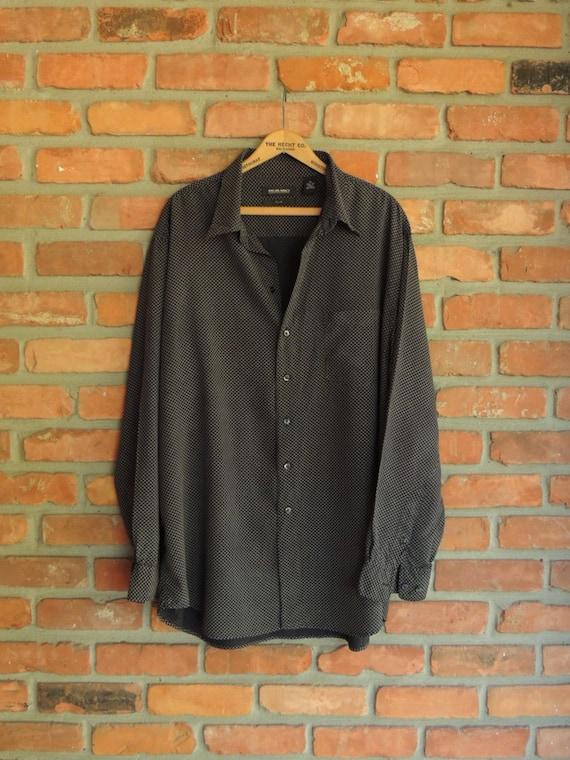 Men 39 S Murano Silk Shirt Black White Geometric Pattern