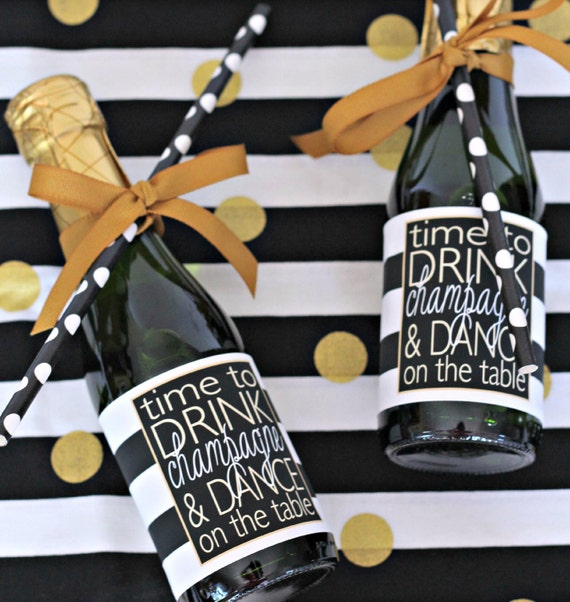 Time to Drink Champagne & Dance on the Table -  Black Gold Mini Bottle Labels - Bachelorette, New Years, Birthday, Wedding Party Favors