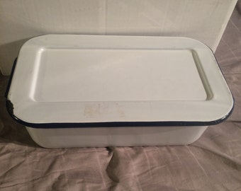 White Enamelware Container