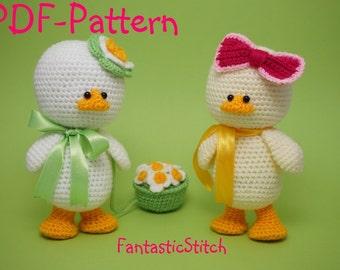 Crochet pattern easter duck amigurumi flower instant downdload pdf 24 pages