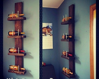 Wine Rack - Rustic Wooden Wine Bottle Shelf