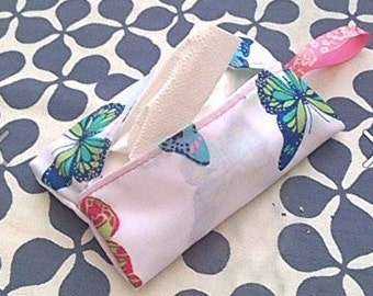 Handy pocket tissue holder, cupcakes, vintage floral, dog, butterflies
