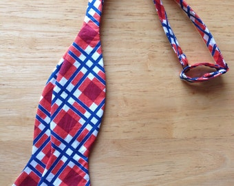 Plaid bowtie, orange/blue