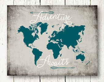 adventure awaits world map travel quote printable teal and gray arrows wall art decor poster sign digital print instant download pdf jpg