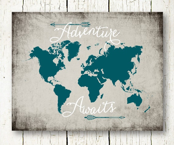 Adventure awaits world map travel quote printable teal and adventure awaits world map travel quote printable teal and gray arrows wall art decor poster sign digital print instant download pdf jpg gumiabroncs Image collections