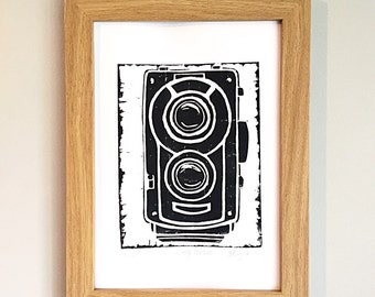 Vintage camera original lino print in black