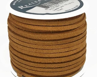 """Suede Lace Toast 1/8"""" x 25 yds. by Real Leather Made in USA"""