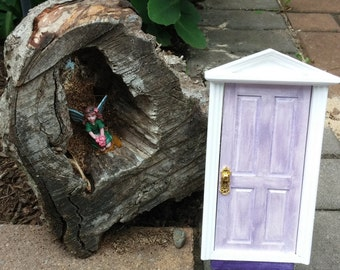 Enchanted Shabby Chic Lavender Tooth Fairy Door Fairies Loose Tooth Fairy Realm Fairy Dust