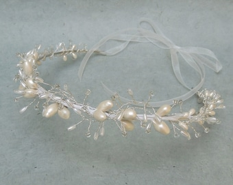 Bridal Hair Wreath Wedding Crown, Pearl Vine Bridal Headpiece, Wedding Hair Accessory, Woodland Bridal Crown, Rustic Chic Wedding Headpiece